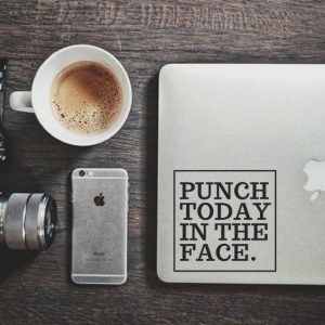 Punch Today in Face Laptop Decal