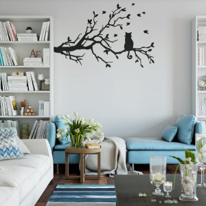 Cat on Tree Branch Wall Decal