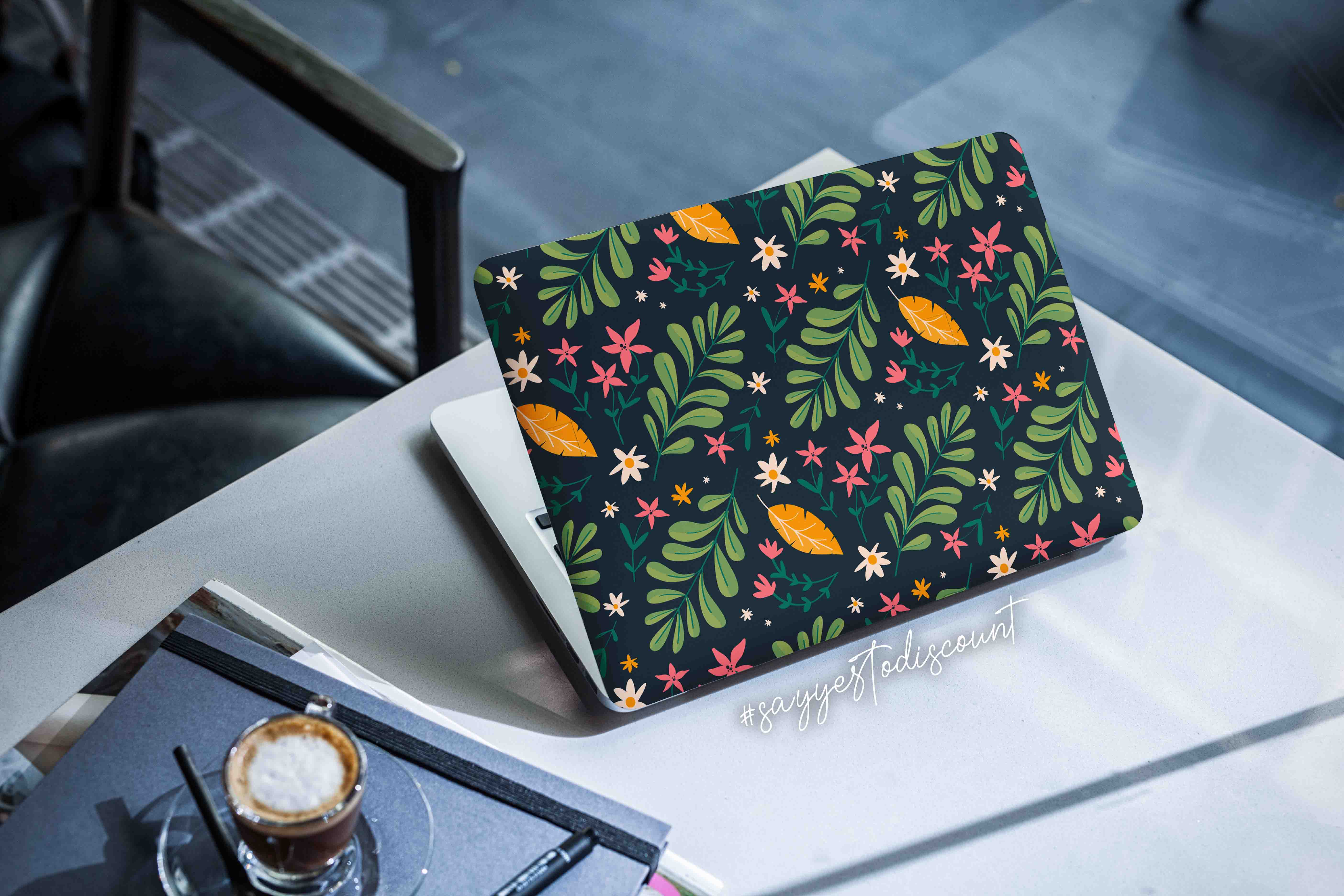 Leaves and Flowers Design Laptop Skin