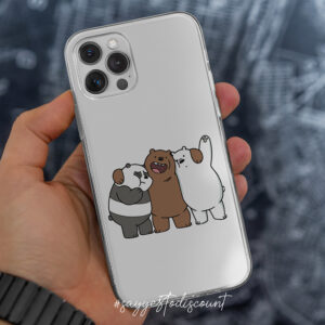 Bare Bears Mobile Cover Printed – Transparent Case